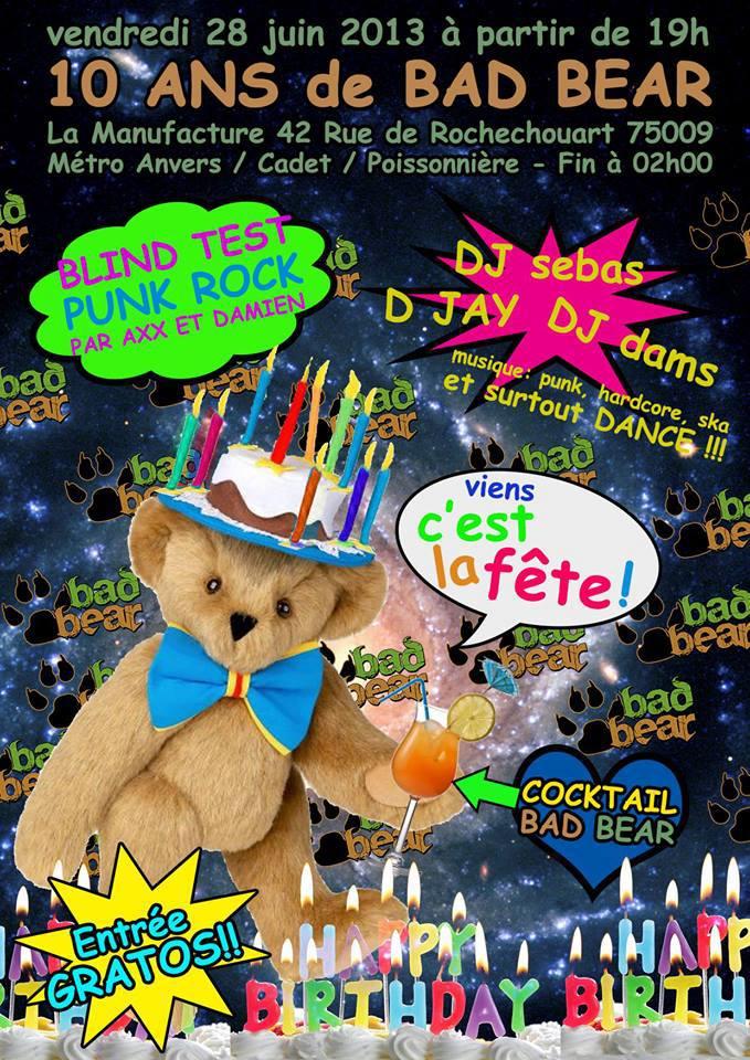 L'affiche des 10 ans de Bad Bear, soirée chouette s'il en est